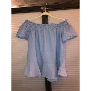 Gibson Latimer Blue off the Shoulder Top